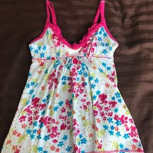 Pink white tank top with flowers and ruffle summer